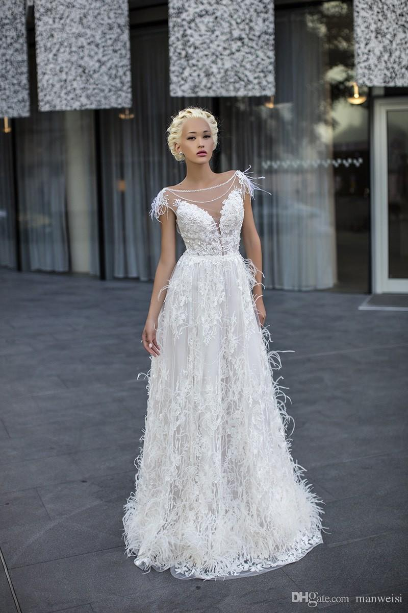 Daria Karlozi 2018 Feder Brautkleider Böhmen Kurzarm Sexy Spitze Appliqued Kristall Brautkleider Plus Size Country Wedding Dress