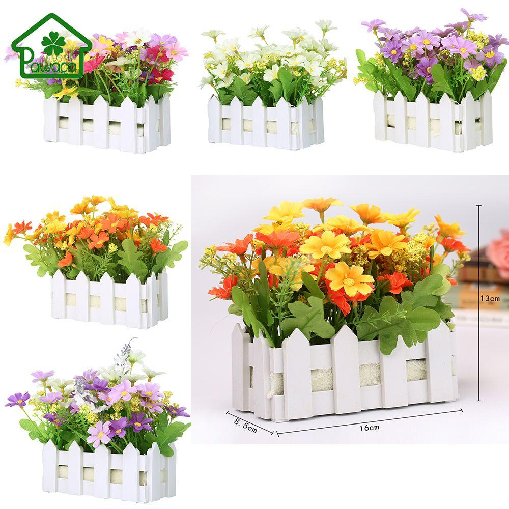 2018 Home Decorative Artificial Silk Flowers With Picket Fence Fake