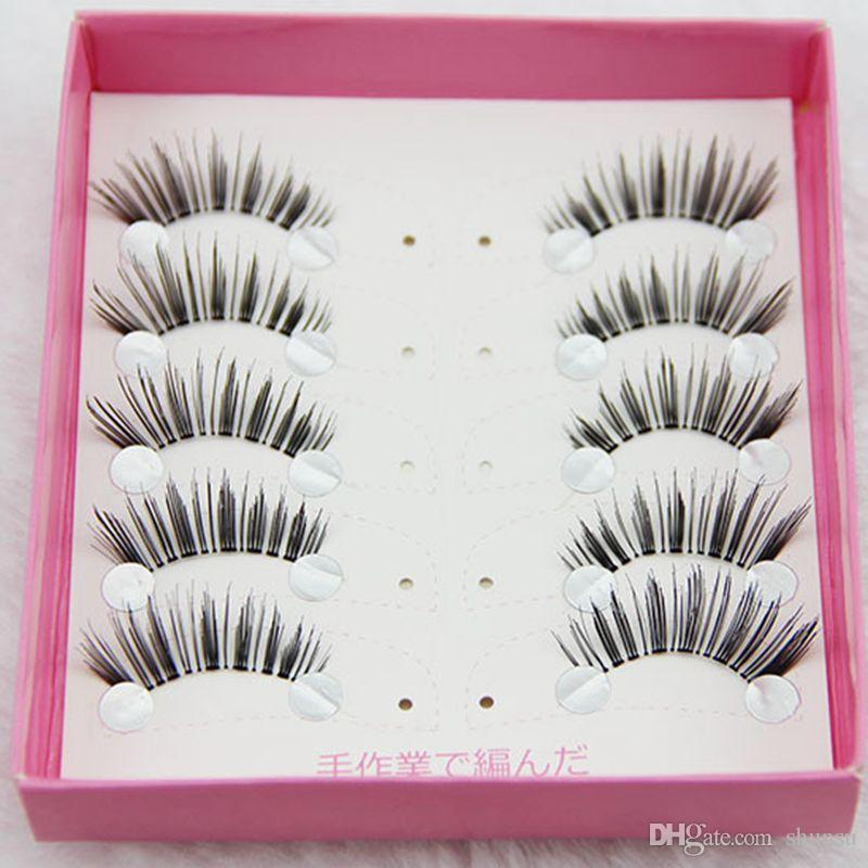 5 Pairs Handmade Cotton Stems False Eyelashes Top Half Crisscross Messy Fake Eyelashes Daily Stage Makeup Lashes Tool