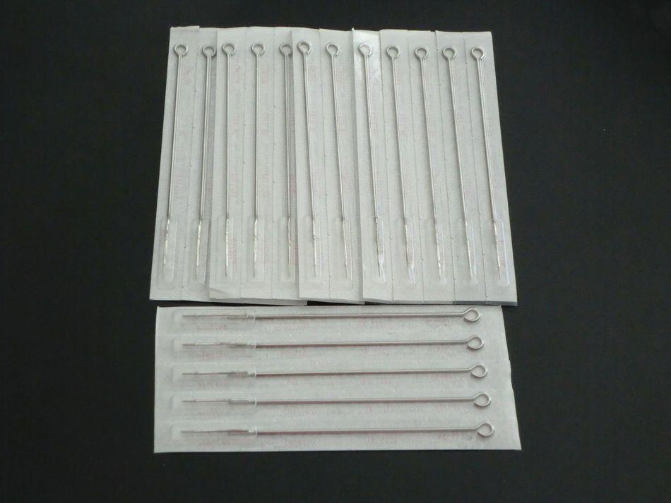 Steril Tattoo Needles Drop 1RL 7RL 3RS 5RS PACK 50 Blandade storlekar Round Liner Shader för maskiner Power Kits Grips Tips