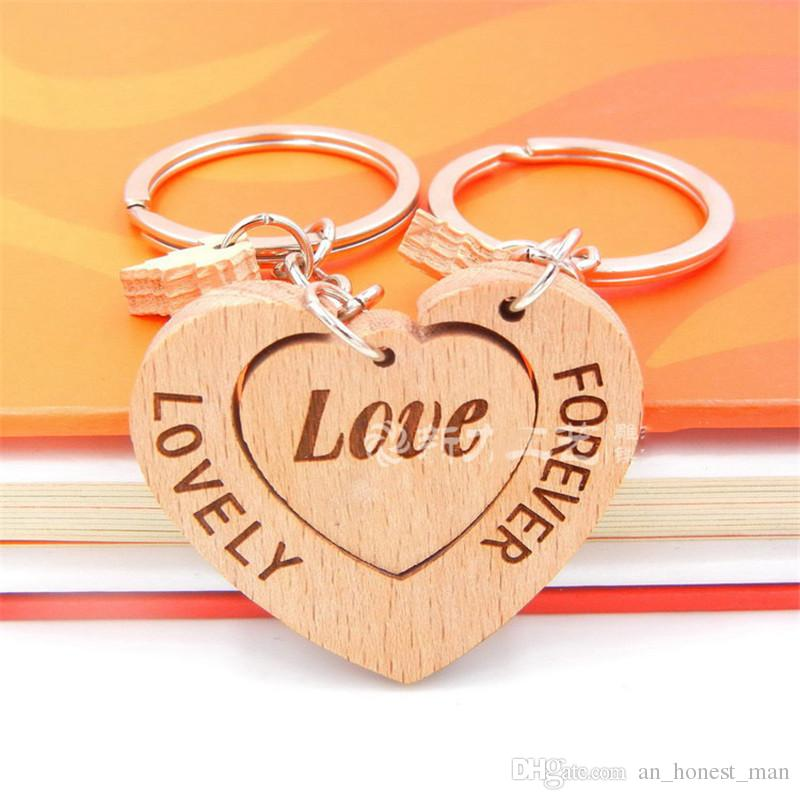 Lovely Custom Couple Wooden Keychain Personalized Keychain Handmade Polished DIY Rectangular Square Round Heart Shape as Ideal Gift