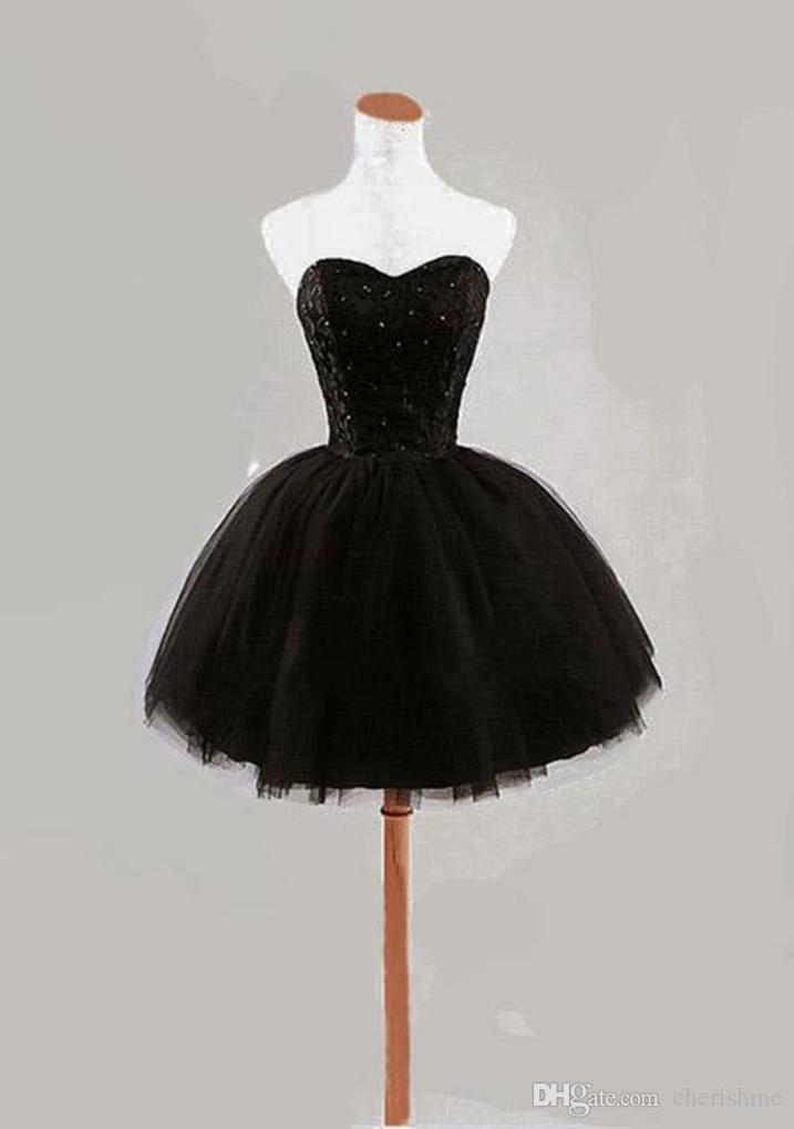 Black Short Cocktail Dress Strapless Beads Lace Up Back Natural