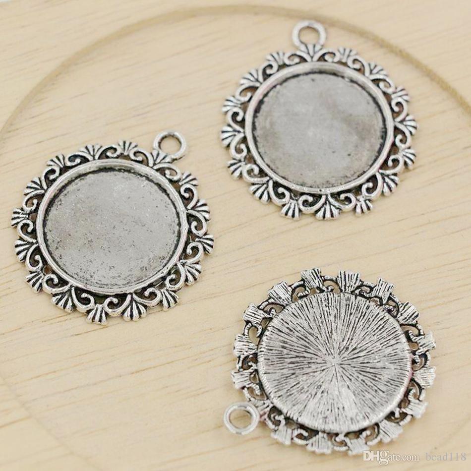 Cadres photos rondes de charme de cadre / 30x34mm bijoux en alliage DIY Fit Bracelets Collier Boucles d'oreilles argent antique / bronze A-333