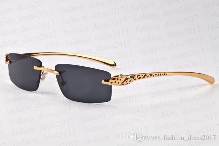 Nouvelle marque hommes lunettes de soleil buffle corne léopard modèle de forage lunettes lunettes en métal support frameless miroir lentille avec boîte d'origine