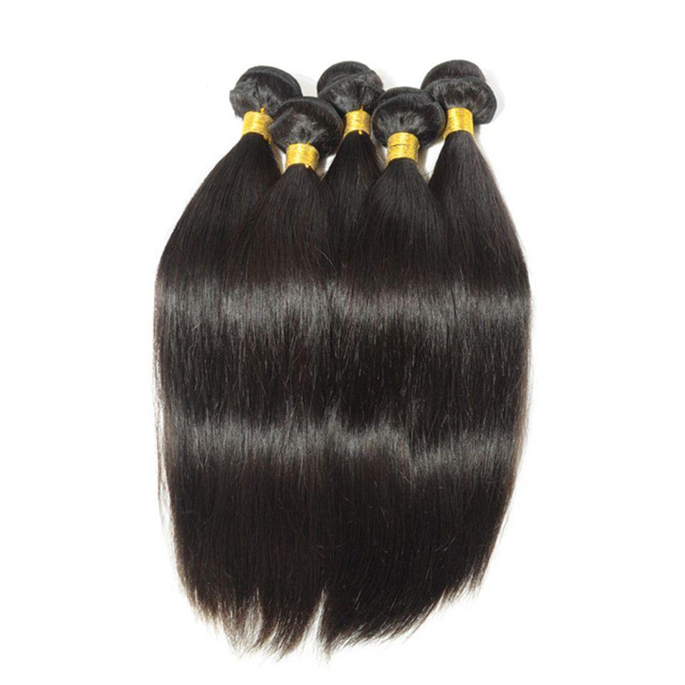 Onda do corpo Mink brasileira Remy Human retas tece cabelo 100g / PC / Duplo tramas Natural Preto extensões do cabelo Virgin Humano Cor