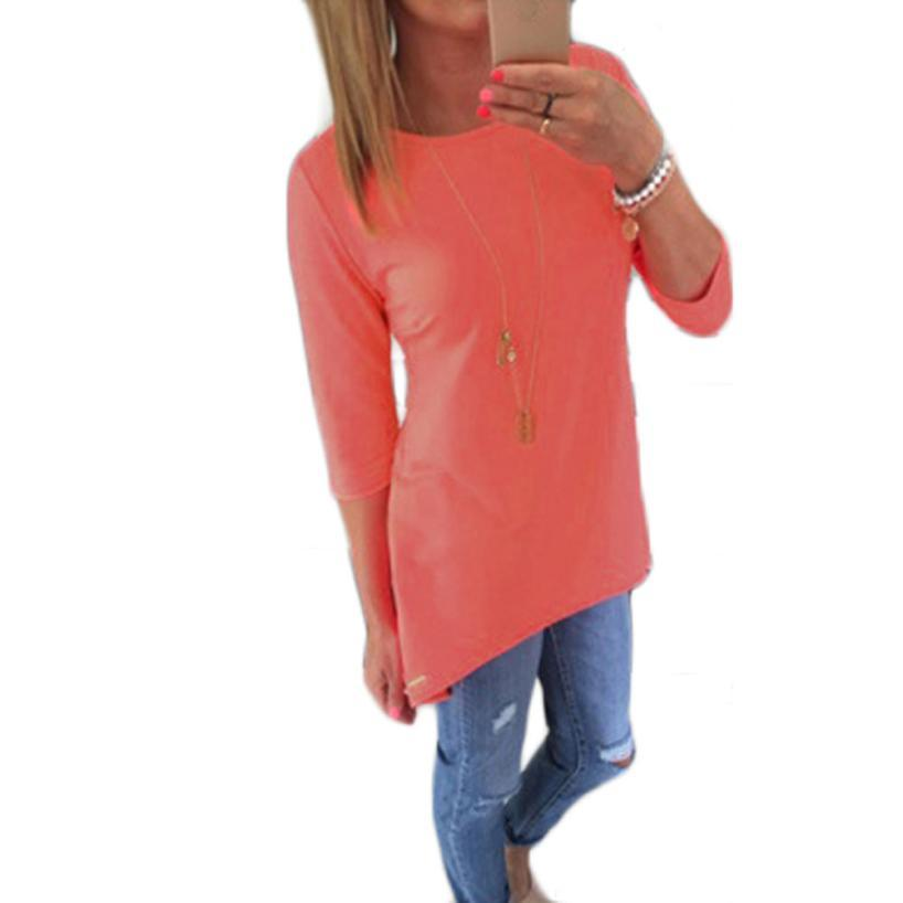 Wholesale-Sif Women Loose Pullover T Shirt Three Quarter Tops Shirt for  Nice Lady Feb22