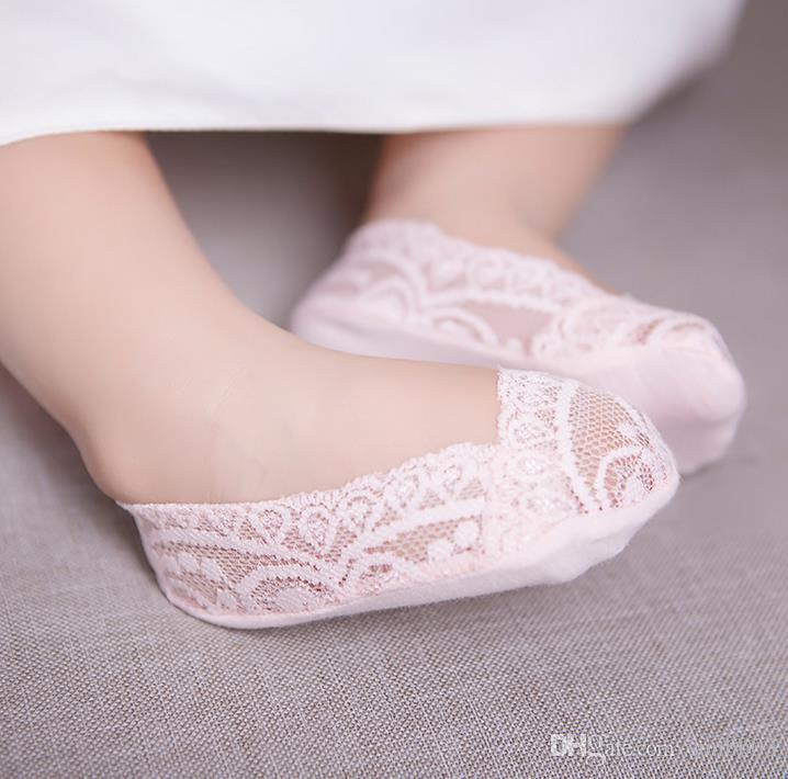 Bebek Çocuk Dantel Çorap Kız Prenses Ayak bileği Çorap Çocuk Pamuk Çorap Ayak Kapak Silikon Alt Kayma Önleyici Bebekler Çorap 5 Renk 12574