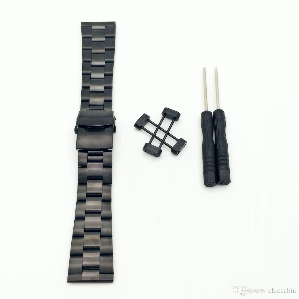 Rare For Suunto Core All Black 24mm Stainless Steel Strap Watch Band W/ Lugs Adapters Kit + Buckle +Tools