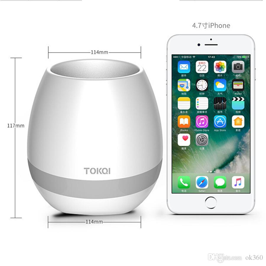 TOKQI bluetooth Smart Music Flower pots intelligent real plant touch play flowerpot colorful light long time play bass speaker Night light