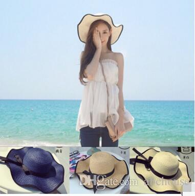Vintage Women Large Floppy Foldable Straw Hat Boho Wide Brim Beach Sun Cap  with Bow Summer Holiday Wear Fashion Accessories Free Ship Foldable Straw  Hat ... 250057176af9