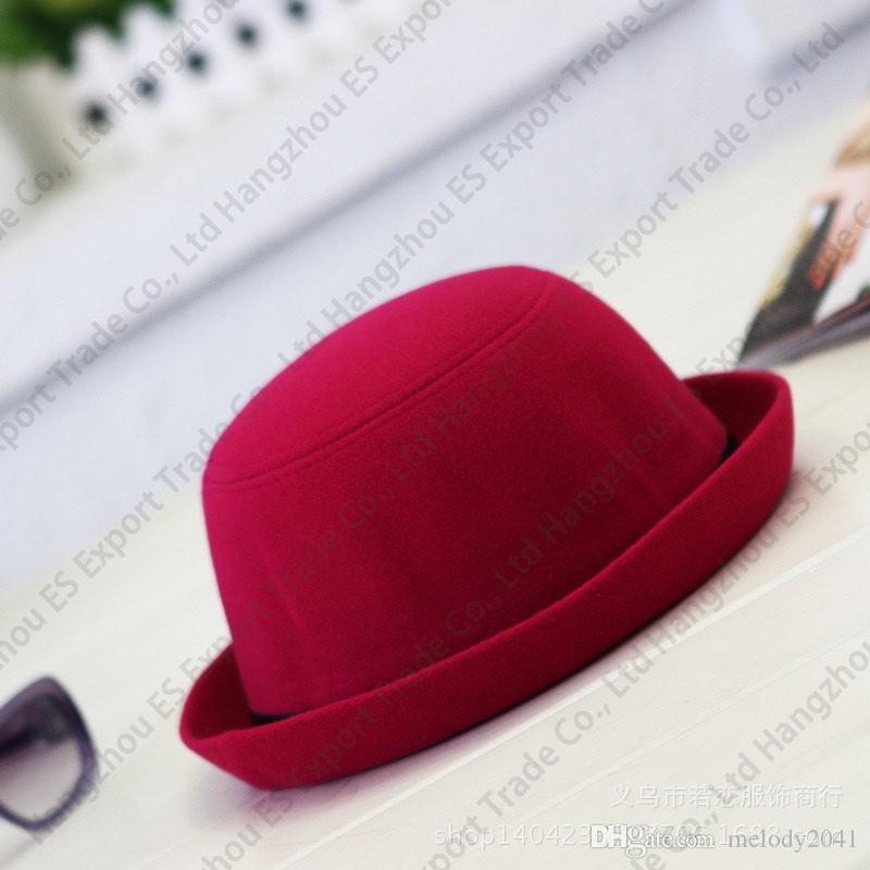Nuevo Sombrero de Fieltro de Estilo Británico Mujeres Vintage Top Cuello Redondo Trilby Sombrero Retro Ladies Ladies Stingy Brim Sombreros Niños y Adultos dos tamaños