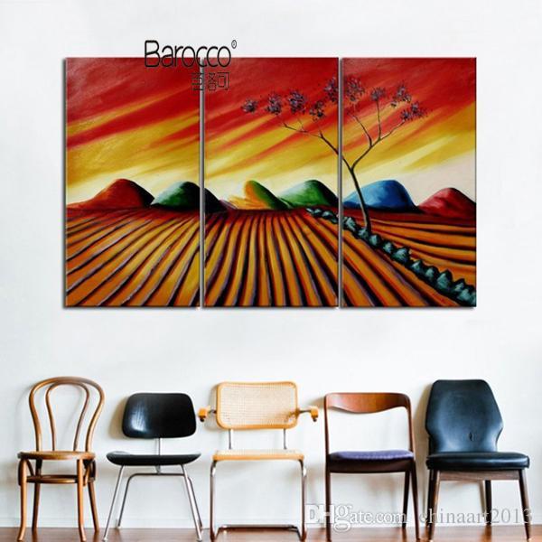 3 шт. ручная роспись маслом на холсте абстрактные красочные сельские пейзажи живопись современный дом стены искусства украшения