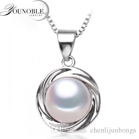 Fashion freshwater pearl 8-9mm pendant jewelry for women,real natural pearl pendant necklace 925 sterling silver girl best gift white