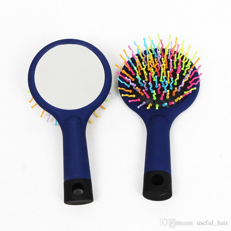 Frete grátis Magia Lidar Com Emaranhado Escova de Cabelo Pente Salão Styling Ferramenta Tamer Com Espelho de Maquiagem Pentes De Cabelo De Plástico Rainbow Escova de Volume