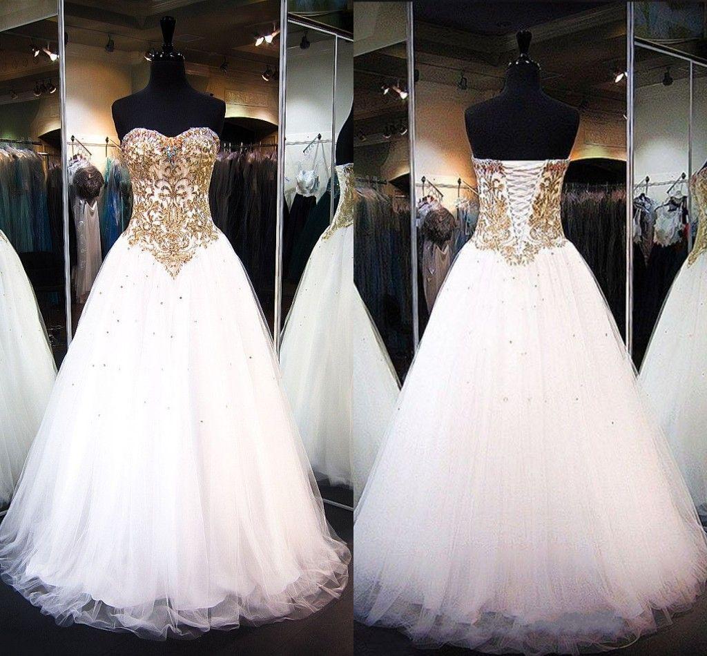 72b6e71763 White Gold Tulle Ball Gown Prom Dresses Sweetheart Appliques Beading Corset  Floor Length Sweet 16 Dresses Evening Gowns Prom Dress Plus Size Prom  Dresses ...