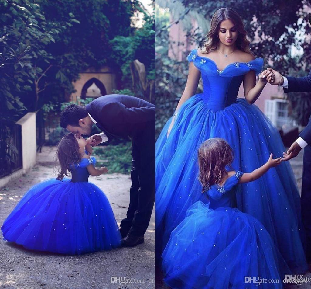 Großhandel 2017 Royal Blue Pageant Kleider Für Mädchen Juwel Blume ...