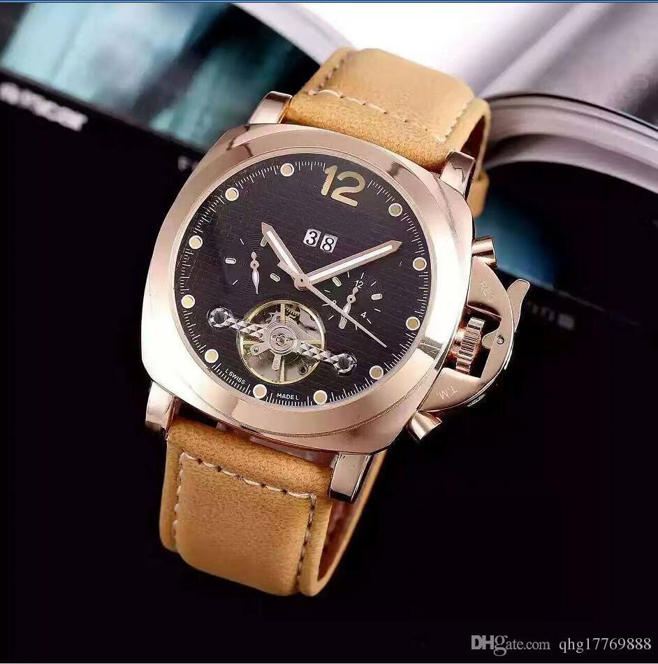 FashionTop Brand Men's watch leather wristwatch Watch Mechanical Automatic Auto Date Clock Steel watch F1