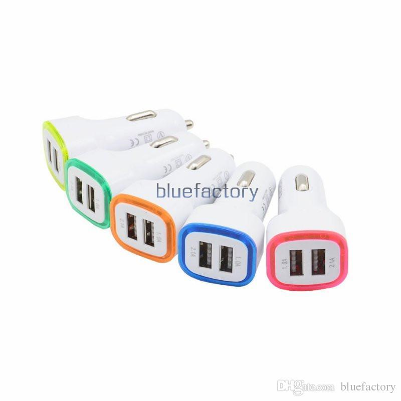 5V 2.1A Puertos USB duales Led Light Car Adaptador Cargador Universal Adaptador de Charing para iPhone Samsung S7 HTC LG Celular