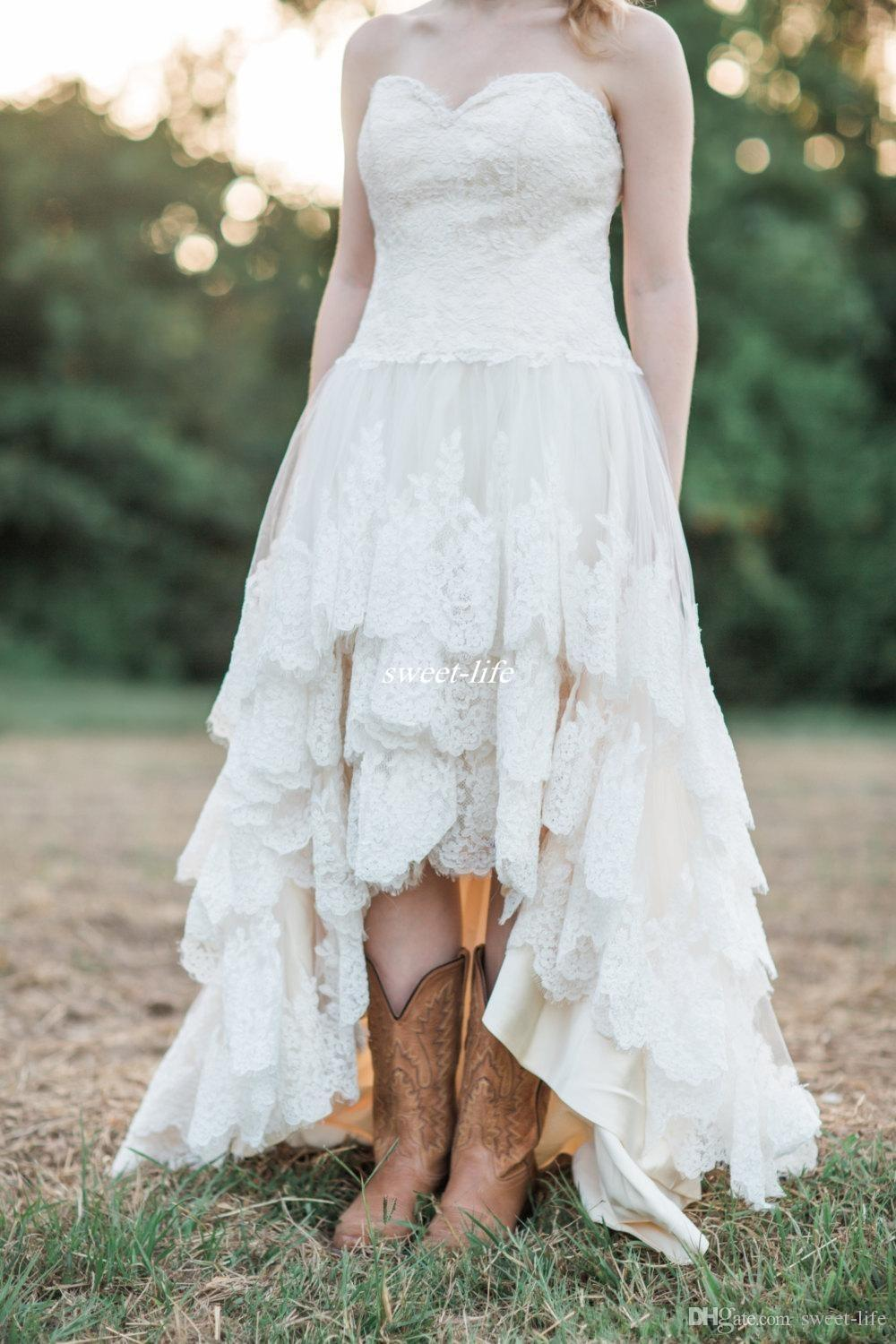 Discount Lace High Low Country Wedding Dresses 2019 Plus Size With Tiered  Skirt And Lace Up Back Bohemia Bridal Gowns Handmade Italian Wedding  Dresses ...