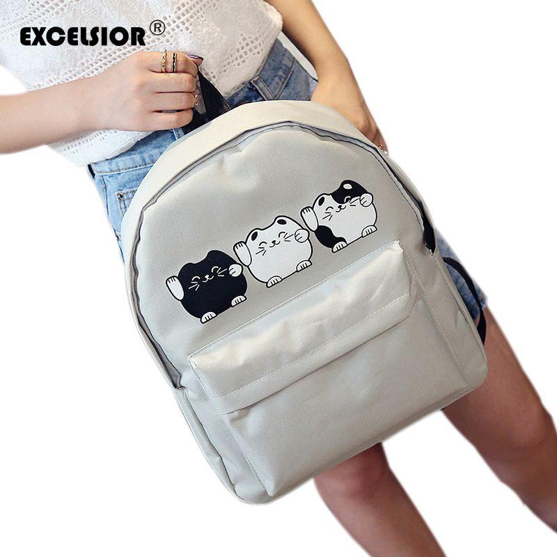 Wholesale- EXCELSIOR Harajuku Style Women Canvas Backpacks Teenage Girls School  Bags Cartoon Cat Backpack Female Travel Bag Campus Rucksack Backpack Bag ... fe25b032405b9
