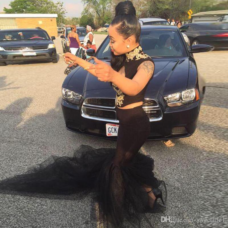 Yüksek Boyun Altın Aplikler Dantel Gelinlik Modelleri 2019 İki Adet Balo Elbise Siyah Tül Mermaid Lise Akşam Parti törenlerinde