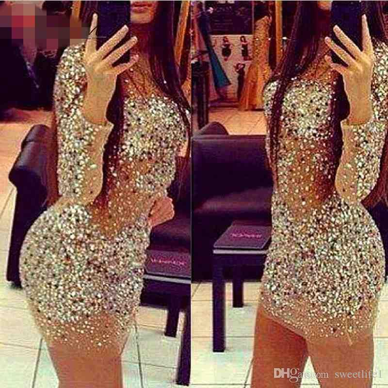 2017 Sexy Sparkly Formal Party Dress Transparent Nude Transparent Beaded  Crystal Long Sleeve Mini Short Cocktail Dresses Elegant White Party Dress  Womens ... c99004588b6c