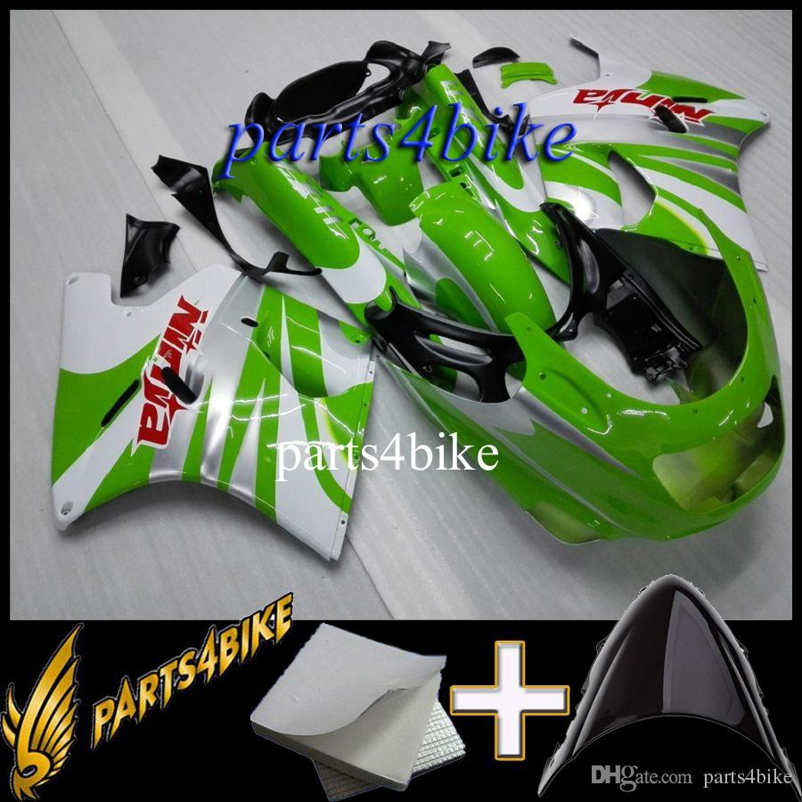 ABS Fairing for Kawasaki ZX11R 92 01 ZX-11R ZZR1100 1992 2001 92 93 94 95 96 97 98 99 00 01 green white MotorcycleAftermarket Plastic Kit