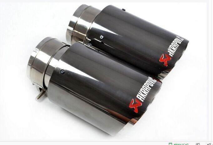 Титановый черный Inlet51/54/57/60/63мм outlet90 / 101мм 304 из нержавеющей стали выхлопной наконечник выхлопной трубы глушитель для универсальных марок автомобилей