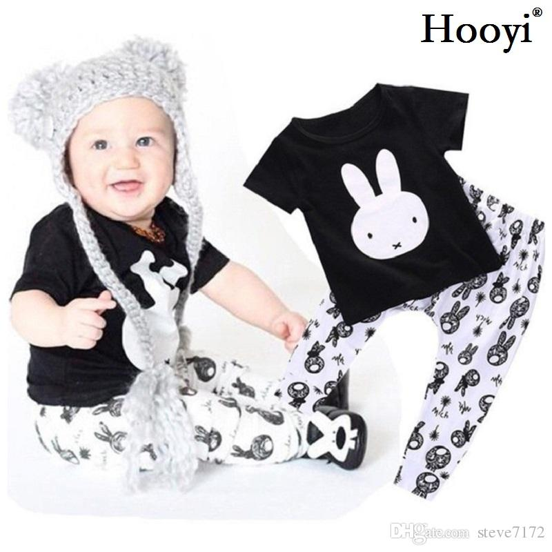 2018 Spring Baby Boys Clothes Set Rabbit Black T-Shirt Pant 100% Cotton Toddler Clothing Suit Outfits Fashion Tracksuits 0-3Year