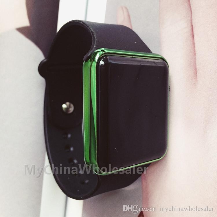 / 핫 LED 시계 도금 프레임 스퀘어 미러 얼굴 실리콘 밴드 디지털 시계 레드 LED 시계 WristWatch 스포츠 시계 Dgital 시계