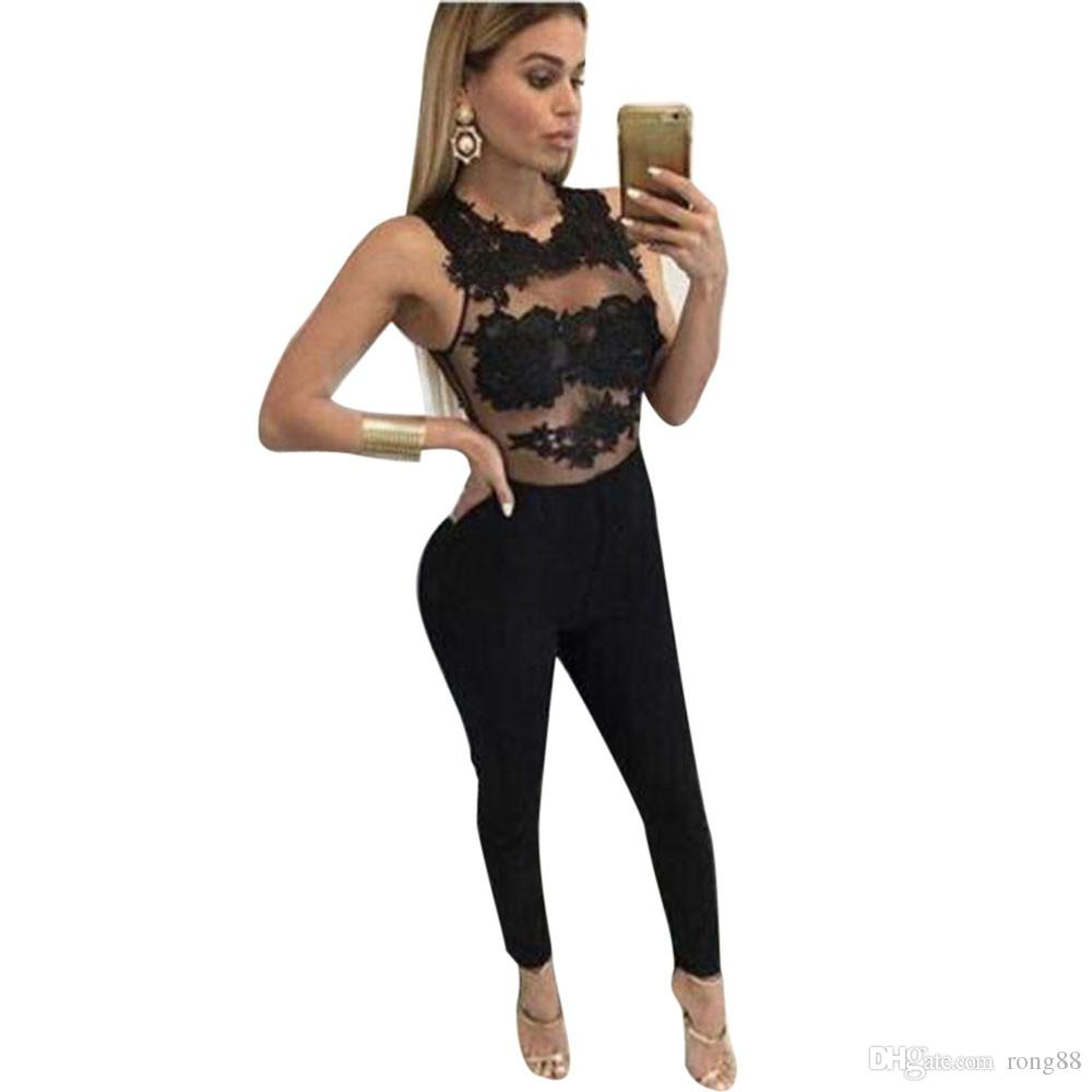 4f2bf4000120 Women Jumpsuit Mesh Lace Floral Patchwork Striped Hollow Out Party Playsuit  Long Jumpsuit Ropa Mujer Rompers