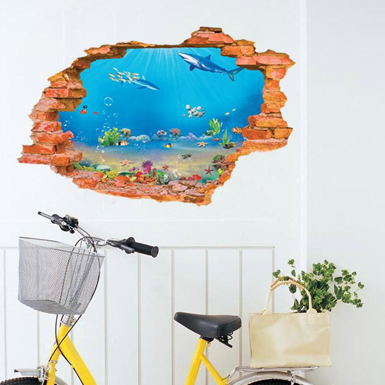 aw8001i 3d broken wall stickers sea fishes dolphin vinyl decals