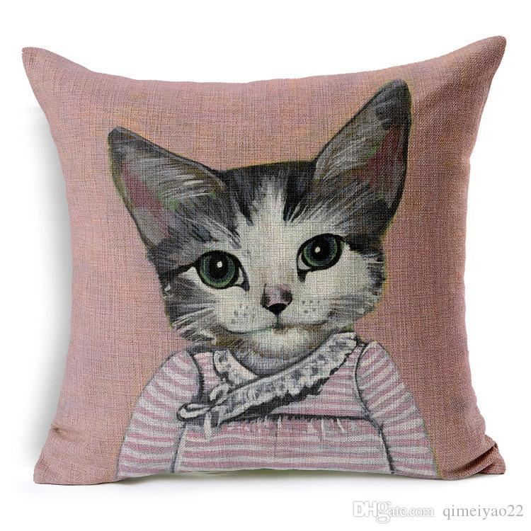 الكرتون وسادة رائعتين القطط الغلاف ديكور رمي غطاء وسادة وسادة القضية الكتان للسيارات أريكة كرسي Almofada Cojines