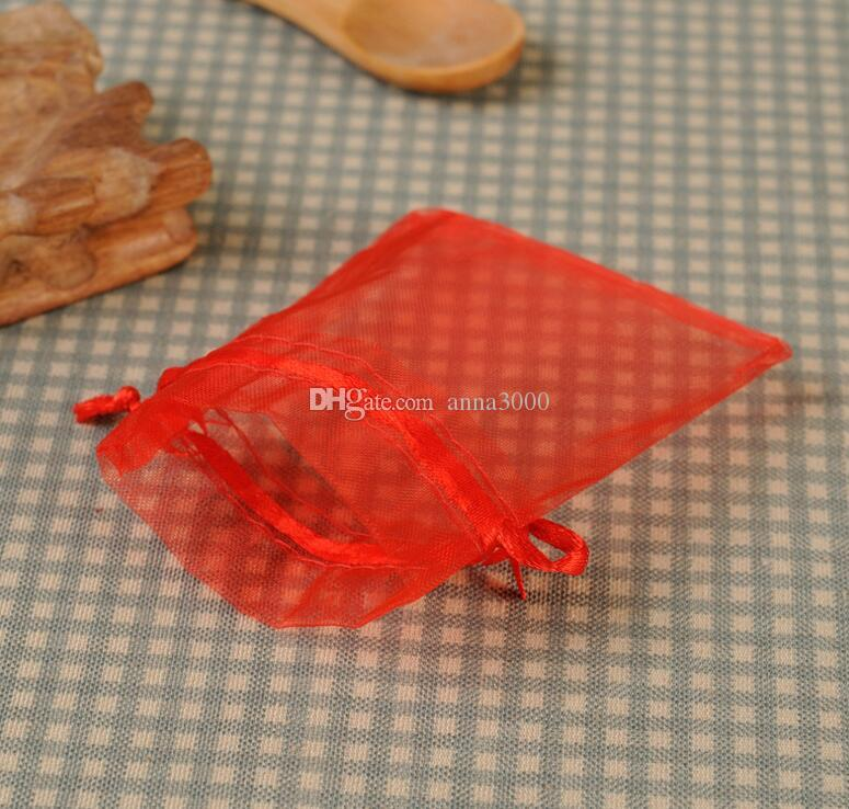 Free Ship High Quality 13x18cm Red Organza bags Wedding Gift Bag Jewelry Pouch Hot sale