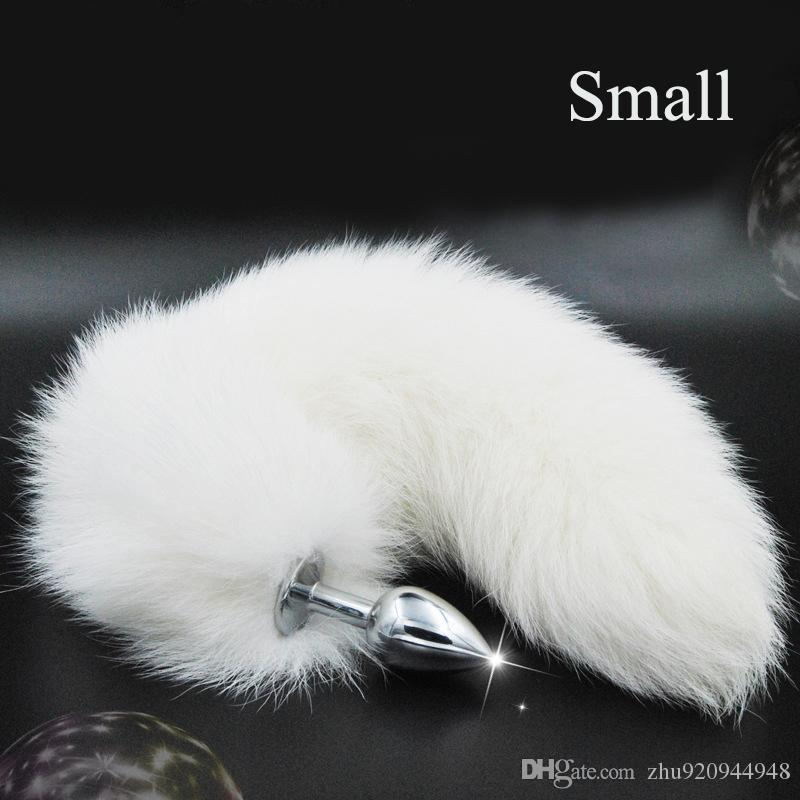 Pure White Fox Tail Butt Plug Metal 35 cm Largo Sexo Anal Juguete Animal Juego de Cosplay con Real Racoon Dog Hiar Productos Sexuales