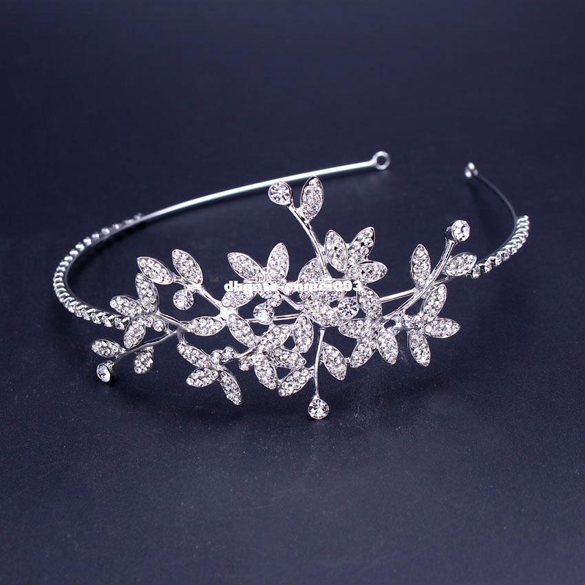 New Arrive Leaf Rhinestone Crown Silver Plated Crystal Tiara Bride ... 8ab73a0b57be