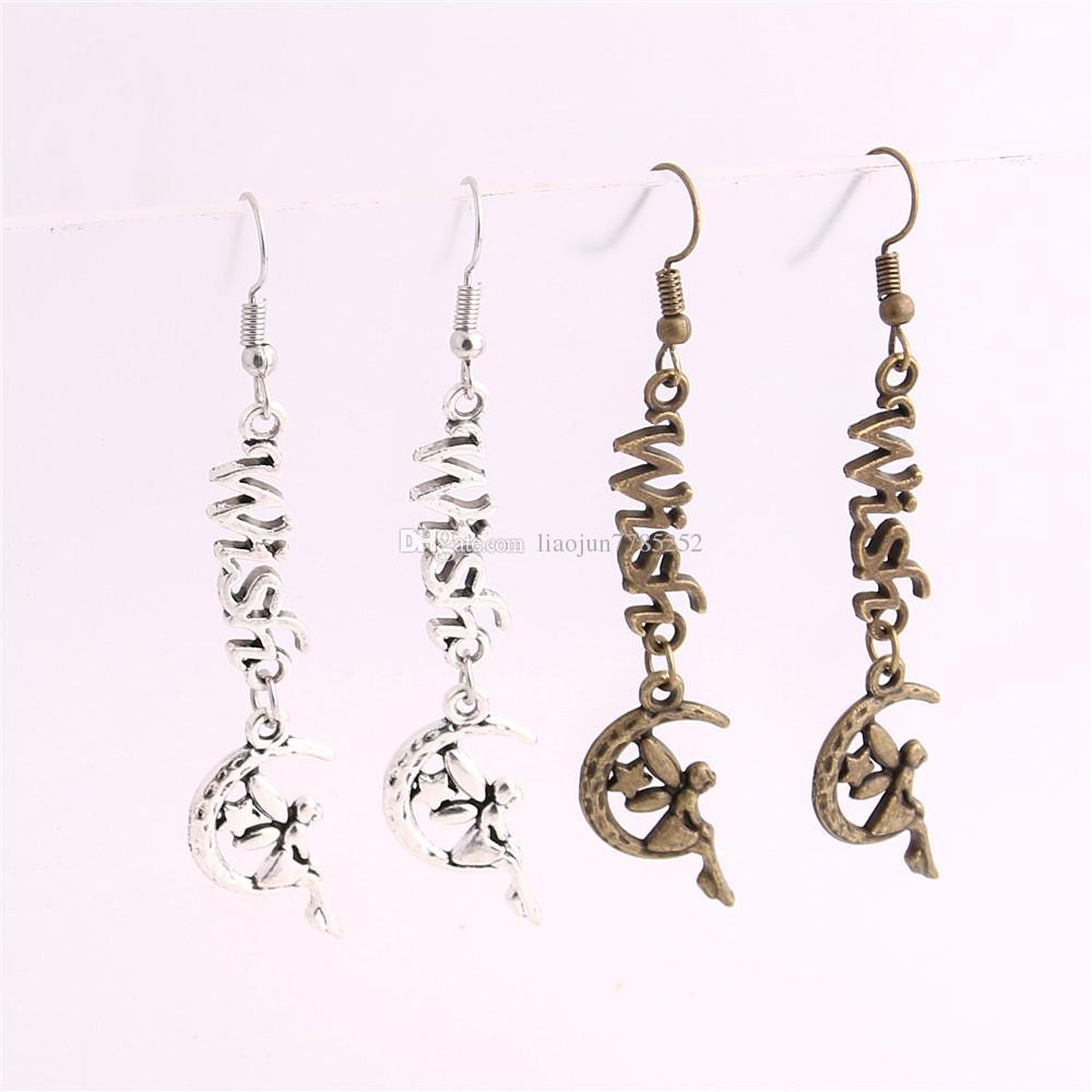 Metal Alloy Zinc Letter Wish Connector Moon Elf Pendant Charm Drop Earing Diy Jewelry Making C0722