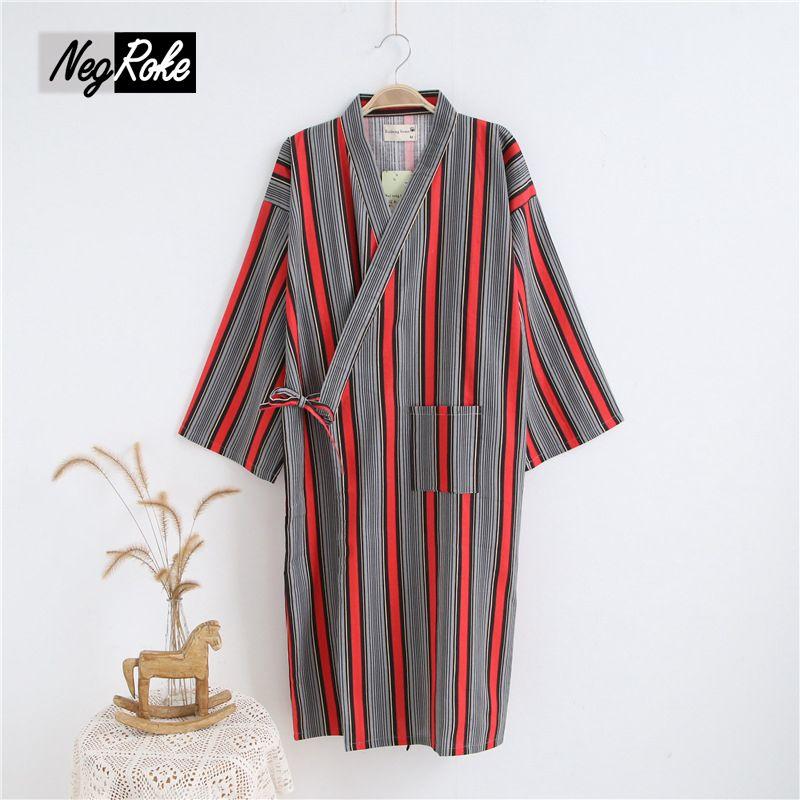 2018 Couple Spring Japan 100% Cotton Kimono Women Robes Striped Long ...