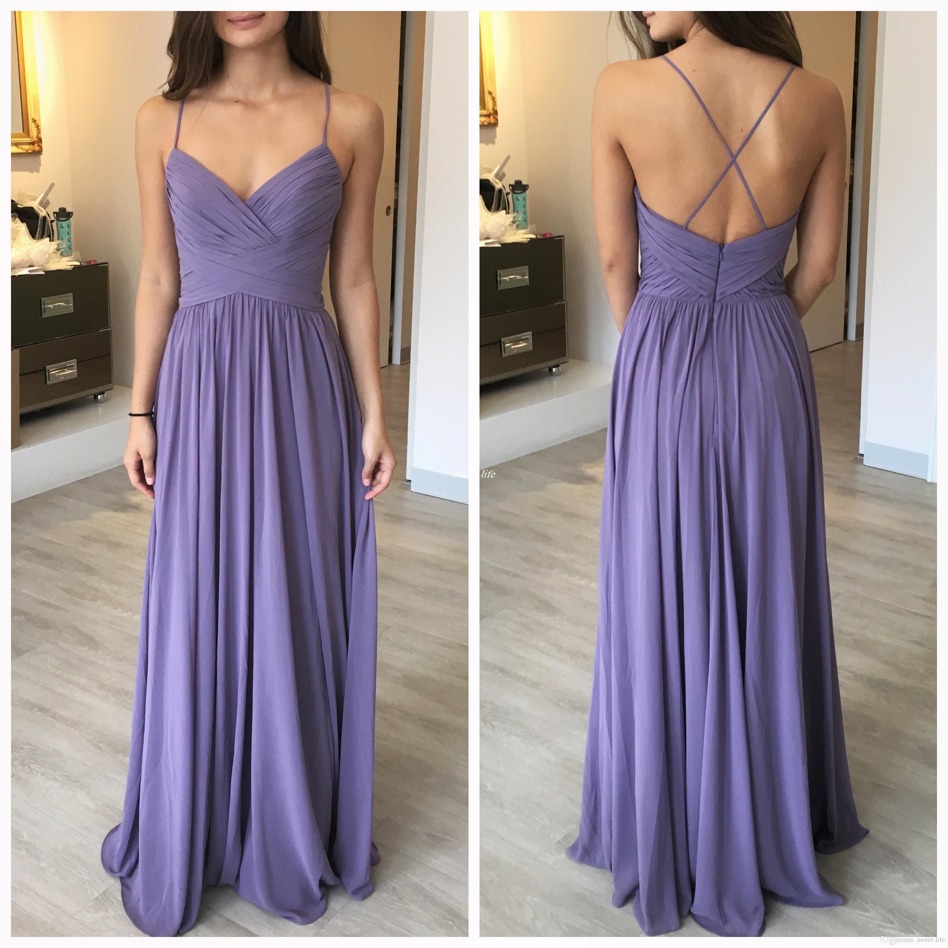 Custom Made Lilac Long Bridesmaid Dresses Cross Back Spaghetti ...