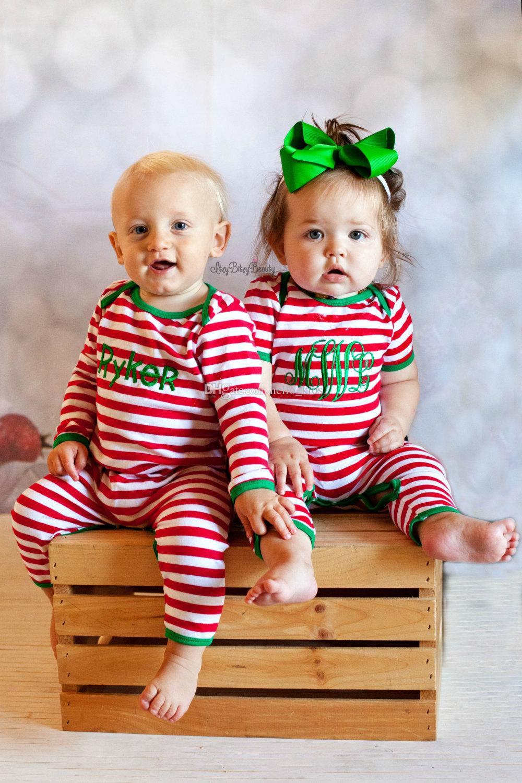 Automne Bébé Enfants Personnalisé Pyjamas De Noël Pièce Complète Nouveau-Né Pyjamas De Noël Bébé Noël Barboteuse Monogrammé Robe De Christma