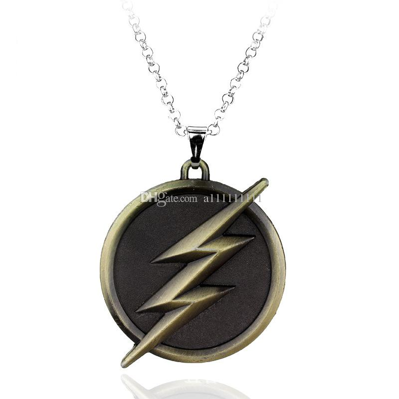 Free Shipping New Movie Jewelry Superhero The Flash Necklace Ligtning Logo Alloy Charm Pendant Necklace 10pcs lot