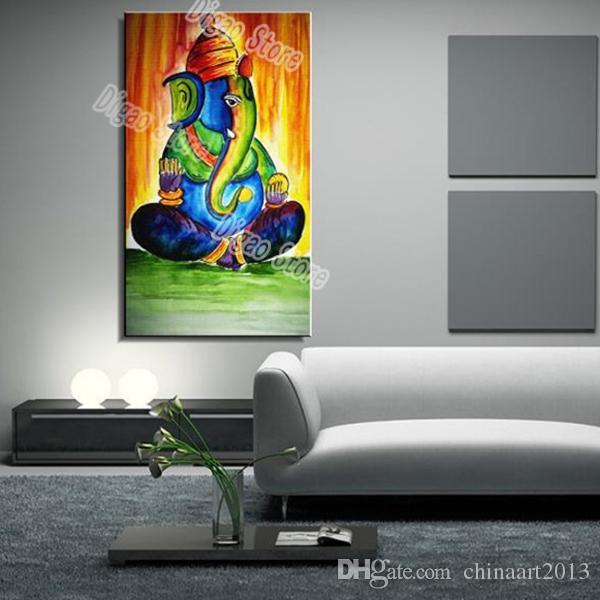 100% ручная роспись животных масляной живописи на холсте абстрактный красочный слон масляной живописи современного искусства стены украшения для дома