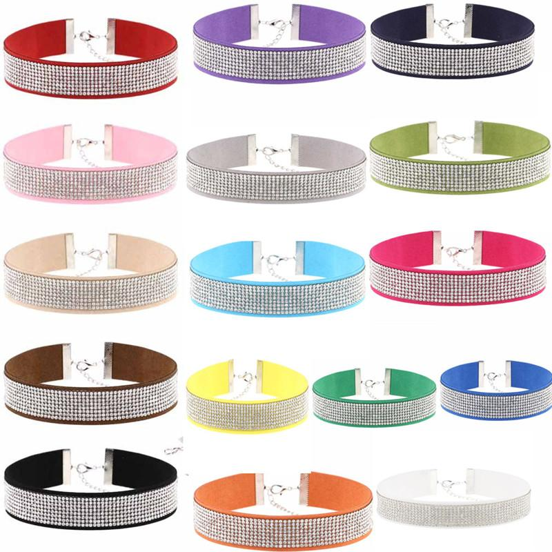 16 Colors The European and American Fashion Collars Retro Studded Diamond Necklace South Korea Velvet Choker/Lot Drop Shipping