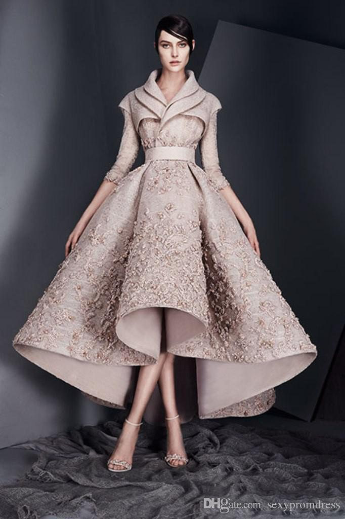 Ashi Studio 2017 New Design Evening Dresses Lace Appliques Long Sleeves Satin Ruched Prom Dresses High Low Formal Party Gowns Custom Made