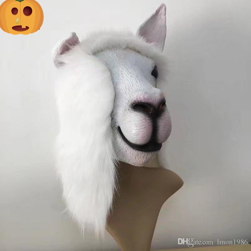 Realistic Fancy dress Latex Cute Sheep Mask Popular animal goat Mask Design full head for Adult masquerade party mud horse mask free size