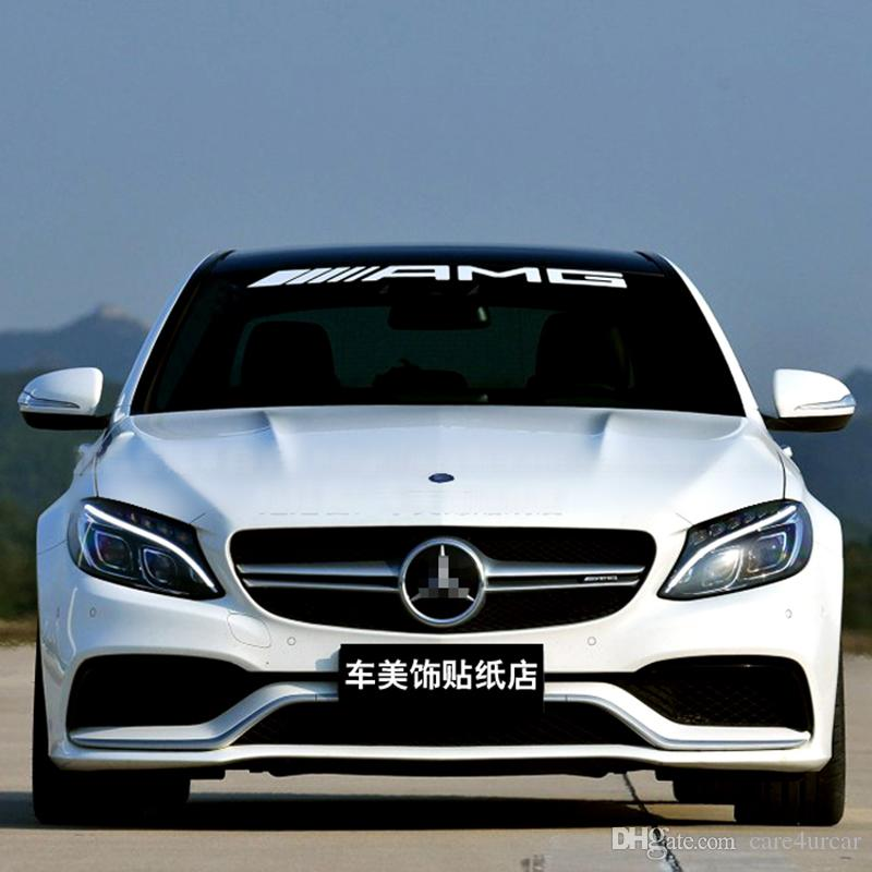Amg front rear windshield banner decal vinyl car stickers for mercedes benz auto window exterior diy decoration decal vinyl car stickers car window sticker