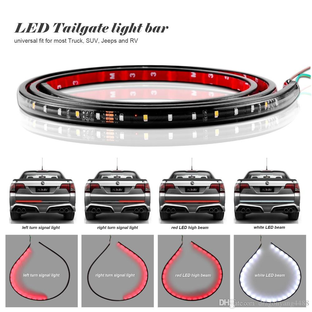 2018 22w 49inch60inch flexible led car truck tailgate light bar red 2018 22w 49inch60inch flexible led car truck tailgate light bar red and white 12v 72led runningbrakereversesignalrear strip light lamp from aloadofball Images
