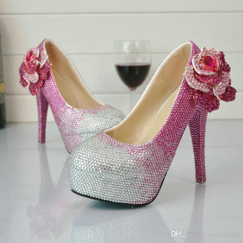 Pink Rhinestone Wedding Shoes Wholesale Price Bridal Dress Shoes Gorgeous  Crystal Party Prom High Heels Graduation Party Pumps The Wedding Shoes  Wanted ... e6ca1bd0a44e