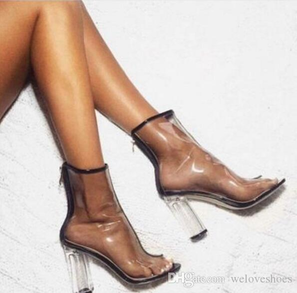 2017 nuove donne stivali in PVC tacco trasparente stivaletti alla caviglia tacco trasparente scarpe aperte peep toe scarpe gladiatore sandali estivi lace up stivali donna