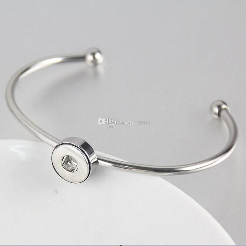 Noosa chunks silver stainless steel snaps jewelry bracelet fit 12mm ginger snap button charm open bracelets